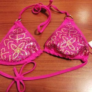 Hot pink cute triangle halter bikini top womens M